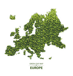 Green leaf map of europe of a vector