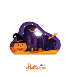 greeting card for halloween holiday in paper cut vector image