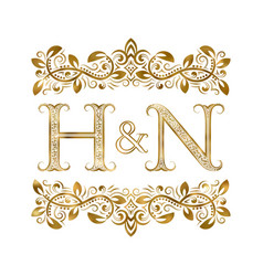 H and n vintage initials logo symbol vector
