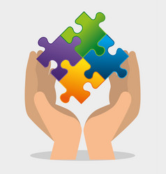 hand with puzzles to autism awareness day vector image