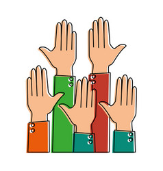 hands up isolated icon vector image