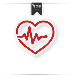 heart pulse beat - red icon with shadow vector image
