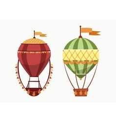 Hot air floating balloons icons isolated vector
