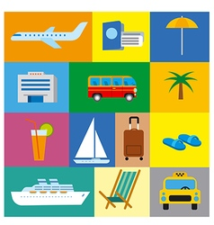 icons of tropical travel concept sea and ocean vector image vector image