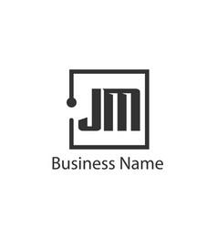 initial letter jm logo template design vector image