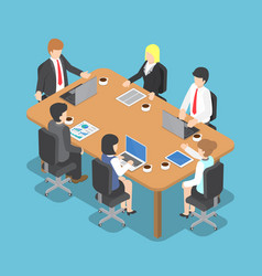 isometric business people meeting vector image