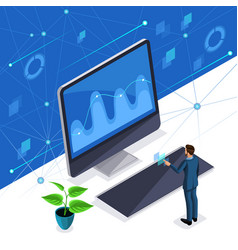 isometric man a stylish business man manages vector image