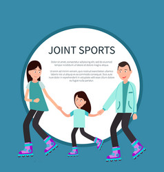 joint sports poster frame for text circle family vector image