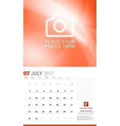 July 2017 wall monthly calendar for 2017 year vector
