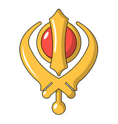 Khanda symbol sikhism religion icon cartoon style vector