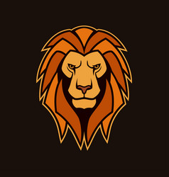 Lion head with mane lion mascot vector