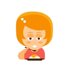 Little Red Head Girl In Red Dress Eating Flat vector