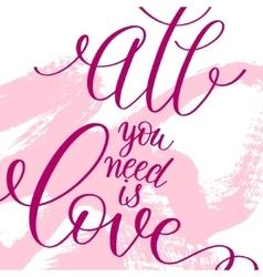 love lettering on pink grunge pattern original vector image
