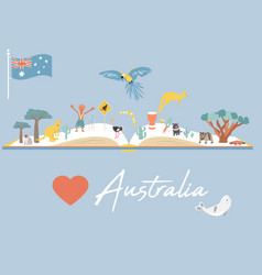 map of australia with landmarks and wildlife vector image
