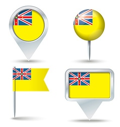 Map pins with flag of Niue vector image