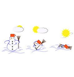 Melting snowman vector