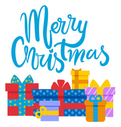 merry christmas winter holidays presents gifts vector image