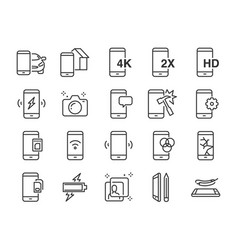 Mobile line icon set vector