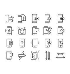 mobile line icon set vector image