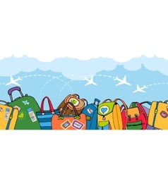 Multiple colorful suitcases bags and backpacks vector image