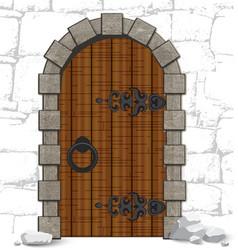 Old wooden vintage doors with stones vector image