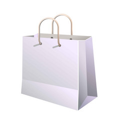 Paper shopping bag with handle isolated on white vector