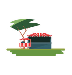 park booth in field carnival festival vector image