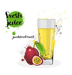 Passion fruit juice fresh hand drawn watercolor vector