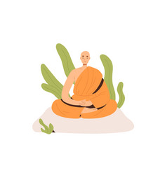 Peaceful buddhist monk in robe meditating in lotus vector