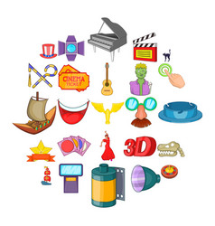 Picture show icons set cartoon style vector