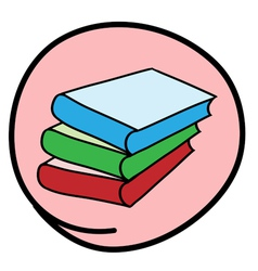 Pile of Books on Round Pink Background vector image