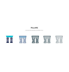 Pillars icon in different style two colored and vector