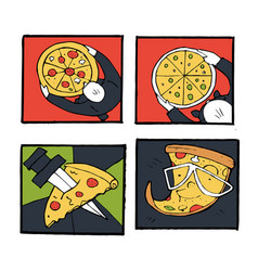 pizza icons posters images set vector image