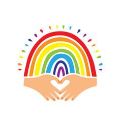 rainbow flag pride logo hand-drawn rainbow and vector image