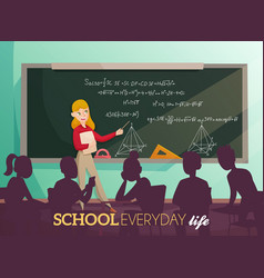 School daily life cartoon vector