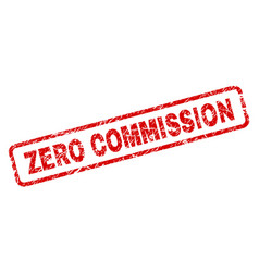 Scratched zero commission rounded rectangle stamp vector