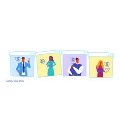 set businesspeople using digital gadgets to earn vector image