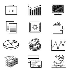 Set monoweight linear icons and symbols on vector