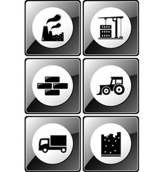 Set of glossy industrial icons vector