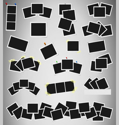 Set of square photo frames on sticky tape pins vector