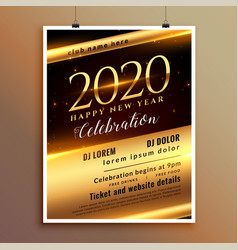 shiny golden 2020 new year eve party invitation vector image