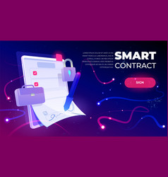 Smart contract web banner e-signature document vector