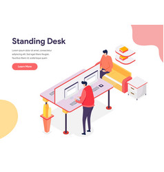 standing desk concept isometric design concept vector image