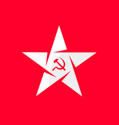 Star with socialist symbol - hammer and sickle vector