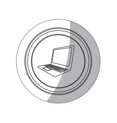 sticker monochrome silhouette circular button with vector image