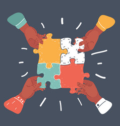 team work concept business hands connect puzzle vector image