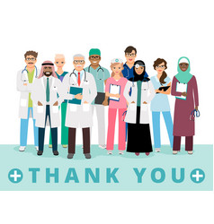 thanks to medical workers poster vector image