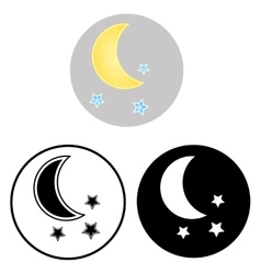 The moon and stars icons vector image