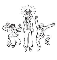 three businessmen jumping for joy holding up vector image