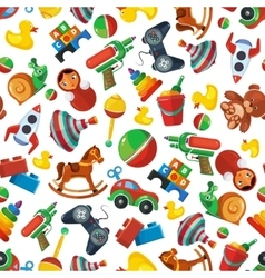 Toys seamless pattern for kids isolate on white vector